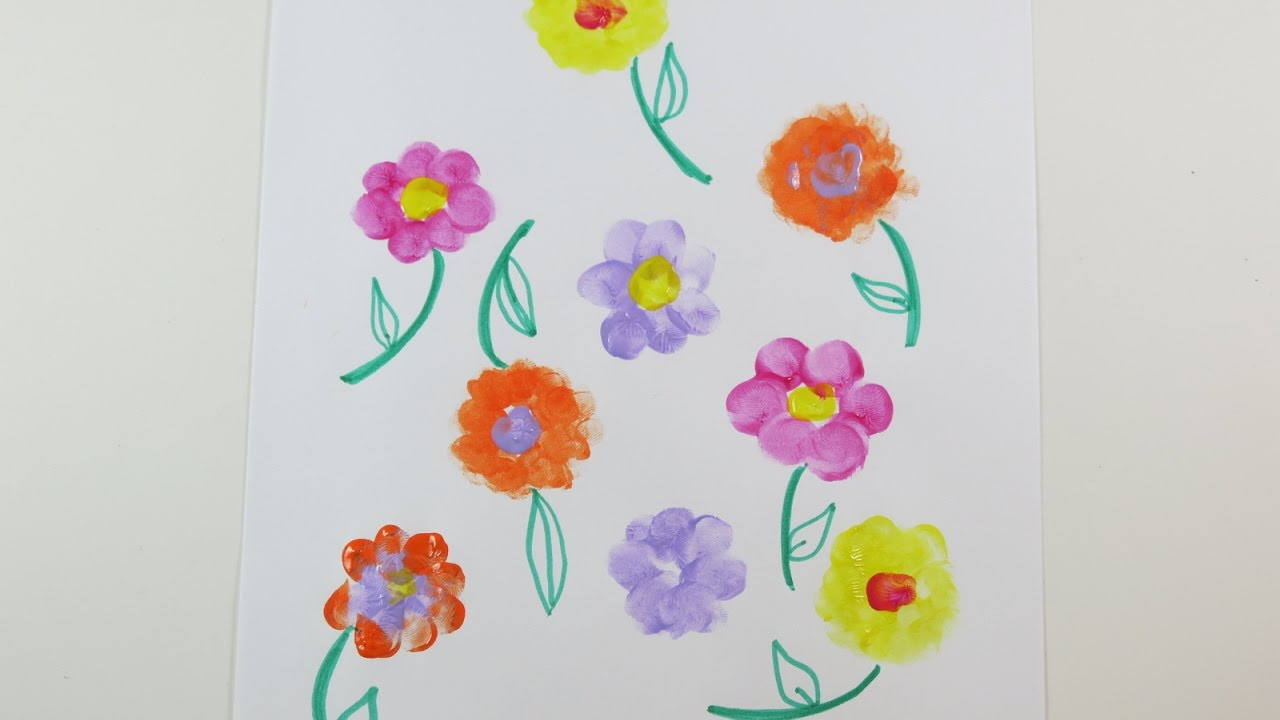 Diy Learn To Draw Thumbprint Flowers Cute Drawings For Spring