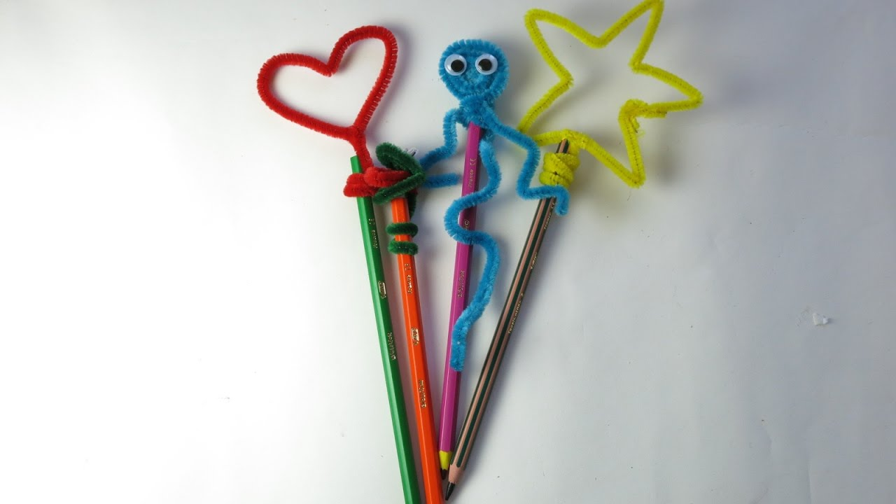 Diy pipe cleaner pencil toppers easy crafts for kids for Diy crafts youtube channels